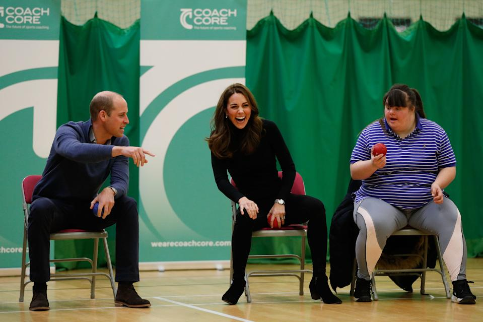 William and Kate get competitive during a game of boccia during a session with Coach Core Essex in October 2018. <em>[Photo: PA]</em>