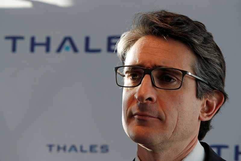 FILE PHOTO: Patrice Caine, Chairman and CEO of Aerospace and defence group Thales, attends a news conference with Gemalto in Paris