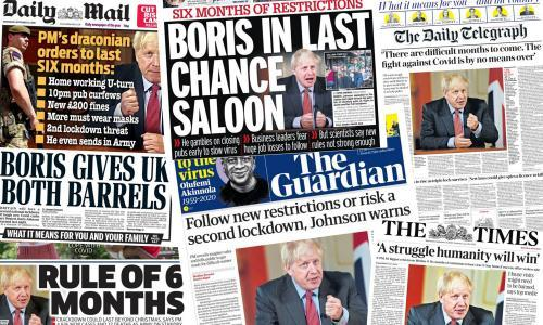 'Boris gives UK both barrels': how UK papers covered Johnson's Covid speech