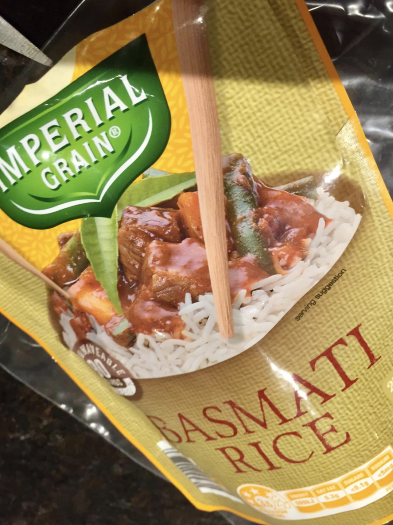 Photo shows packet of Imperial Grain basmati rice from ALDI.