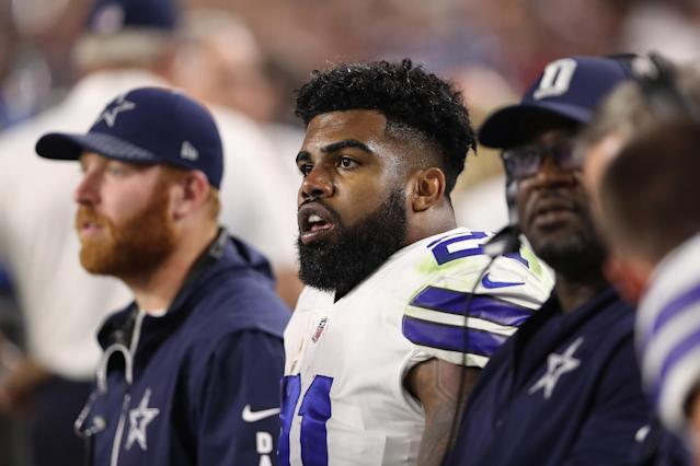 Ezekiel Elliott faces a six-game suspension for violating the league's domestic violence policy. (Getty Images)
