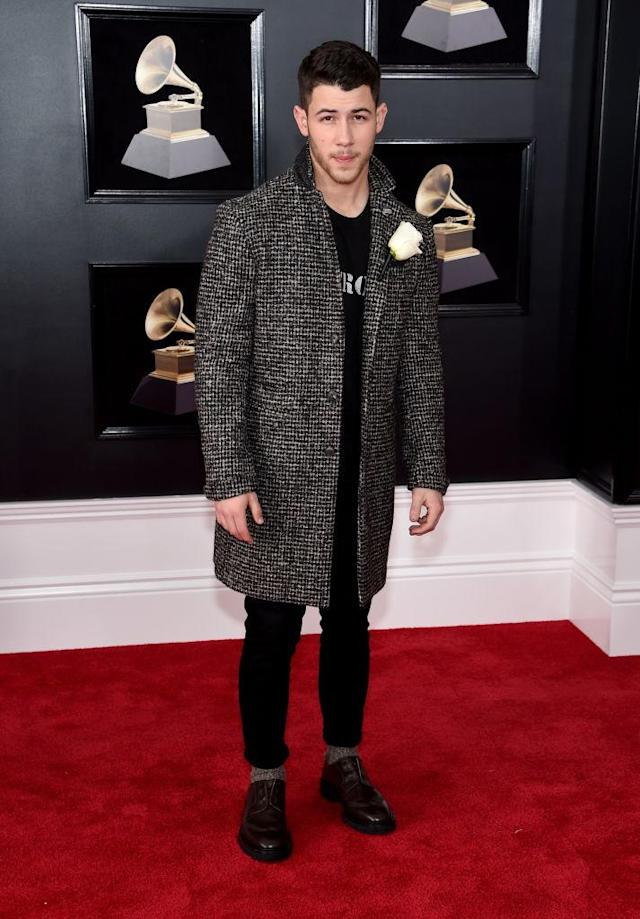 <p>Nick Jonas attends the 60th Annual Grammy Awards at Madison Square Garden in New York on Jan.28, 2018. (Photo: John Shearer/Getty Images) </p>