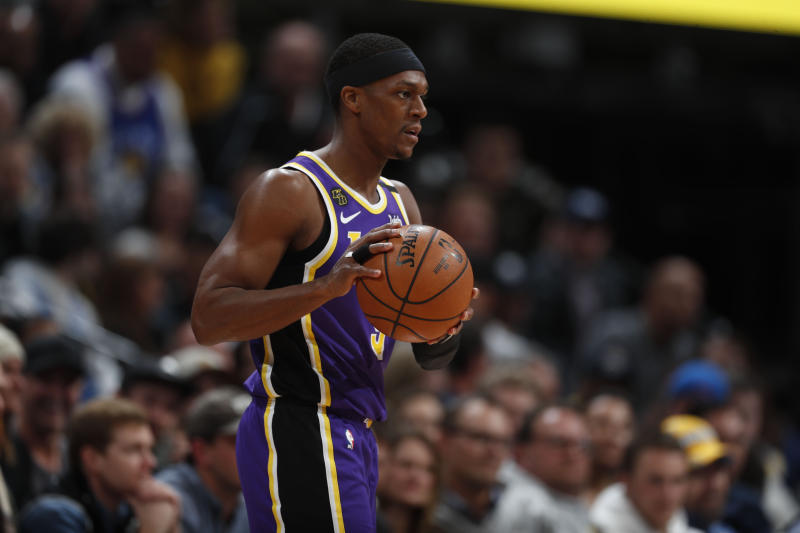 Los Angeles Lakers guard Rajon Rondo (9) in the second half overtime of an NBA basketball game Wednesday, Feb. 12, 2020, in Denver. The Lakers won 120-116 in overtime. (AP Photo/David Zalubowski)