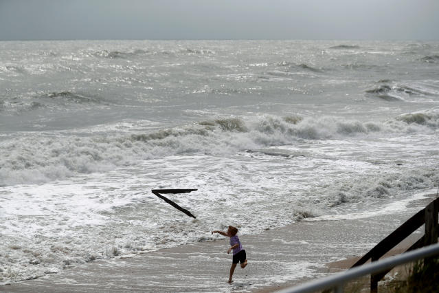 Weston Lee, of Vero Beach, throws a piece of wood into the high surf from the Atlantic Ocean, in advance of the potential arrival of Hurricane Dorian, in Vero Beach, Fla., Monday, Sept. 2, 2019. (AP Photo/Gerald Herbert)