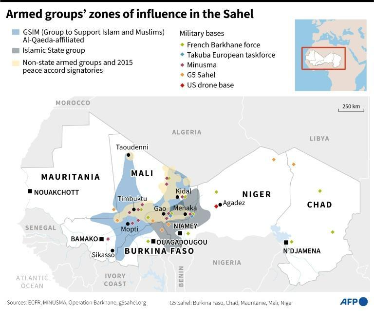 Armed groups' zones of influence in the Sahel