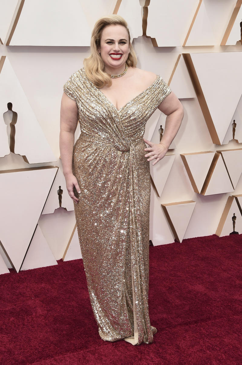 Rebel Wilson arrives at the Oscars on Sunday, Feb. 9, 2020, at the Dolby Theatre in Los Angeles. (Photo by Jordan Strauss/Invision/AP)