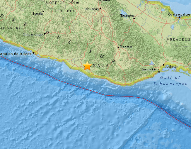The earthquake struck Oaxaca, Mexico, as seen in the U.S. Geological Survey map above. (USGS)