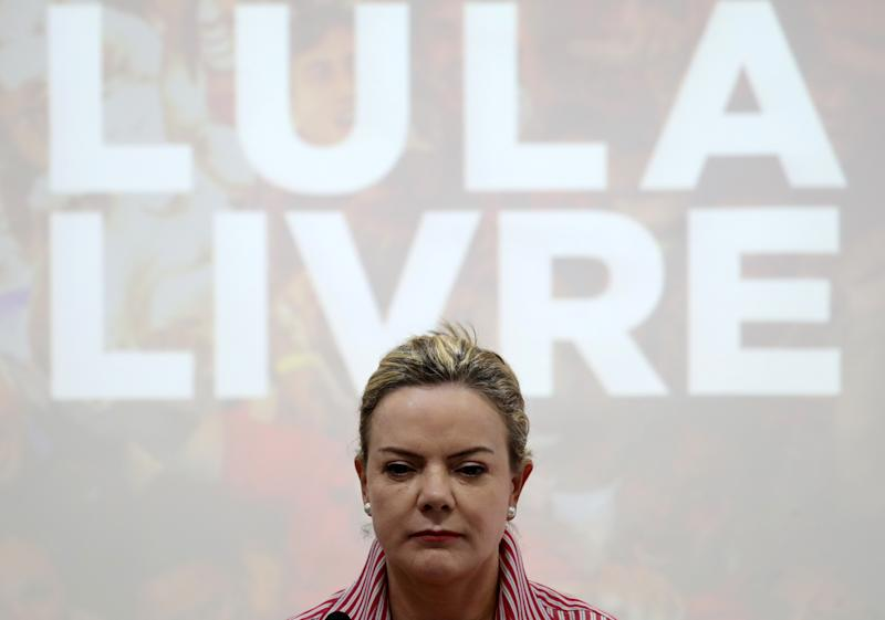 Senator Gleisi Hoffmann, President of the Workers' Party (PT) attends an interview with international correspondents in Sao Paulo, Brazil August 13, 2018. REUTERS/Paulo Whitaker