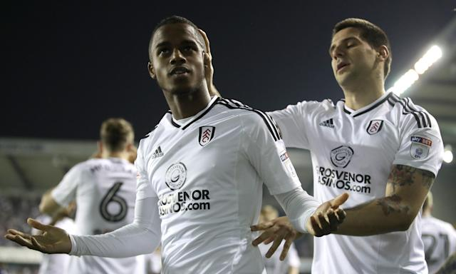 Ryan Sessegnon celebrates after opening the scoring for Fulham at the Den.