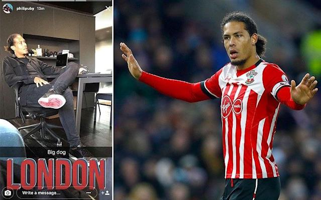 Virgil van Dijk has been spotted in London - TWITTER / PA