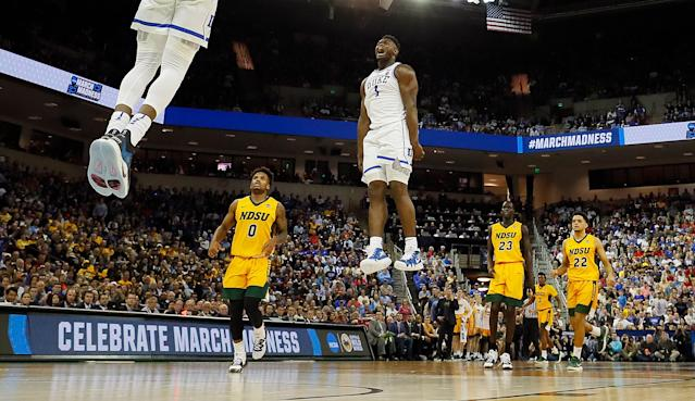 Duke soared above North Dakota State in the second half of its 2019 NCAA tournament opener. (Getty)