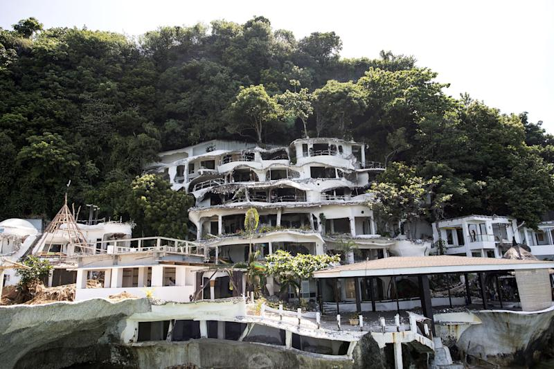 A general view shows the almost demolished West Cove Hotel on the Philippine island of Boracay on April 26, 2018.