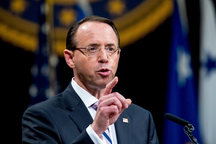 In this May 9, 2019 file photo, then-Deputy Attorney General Rod Rosenstein speaks during a farewell ceremony in the Great Hall at the Department of Justice in Washington.