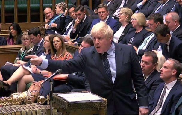 PHOTO: A video grab from footage broadcast by the Parliamentary Recording Unit shows Britain's Prime Minister Boris Johnson gesturing toward the opposition benches while speaking in the House of Commons in London, Sept. 3, 2019. (Paliament TV via AFP/Getty Images)
