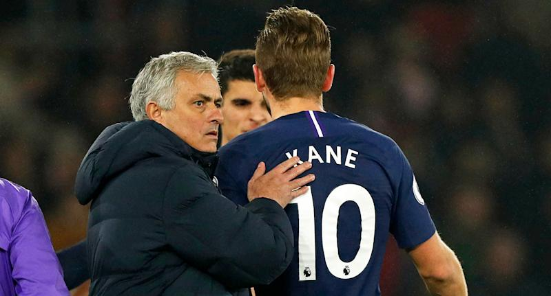 Spurs manager Jose Mourinho looks concerned as captain Harry Kane limps off with an injury.