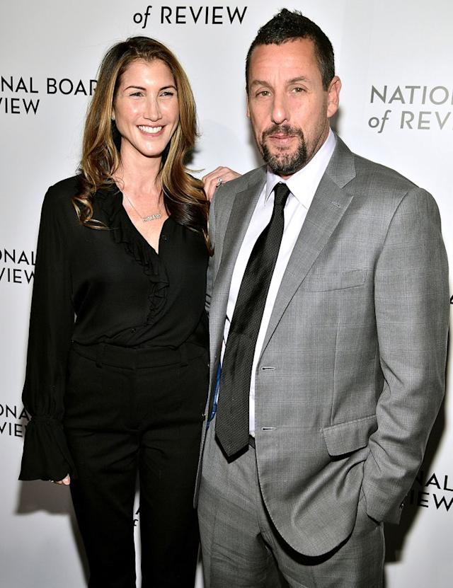 Adam Sandler And Wife Jackie Share Kiss On The Red Carpet As He S Recognized For Uncut Gems Role