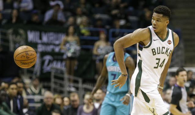 Giannis Antetokounmpo is doing special things with the ball this season. (AP)