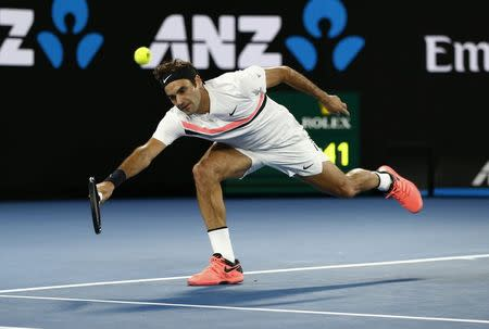 Tennis - Australian Open - Rod Laver Arena, Melbourne, Australia, January 18, 2018. Switzerland's Roger Federer in action during his match against Germany's Jan-Lennard Struff. REUTERS/Thomas Peter