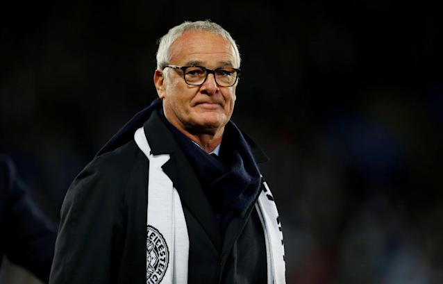 """FILE PHOTO: Soccer Football - Premier League - Leicester City v Burnley - King Power Stadium, Leicester, Britain - November 10, 2018 Claudio Ranieri during a lap of honour in memory of Leicester City's late Chairman Vichai Srivaddhanaprabha after the match Action Images via Reuters/Craig Brough EDITORIAL USE ONLY. No use with unauthorized audio, video, data, fixture lists, club/league logos or """"live"""" services. Online in-match use limited to 75 images, no video emulation. No use in betting, games or single club/league/player publications. Please contact your account representative for further details/File Photo"""