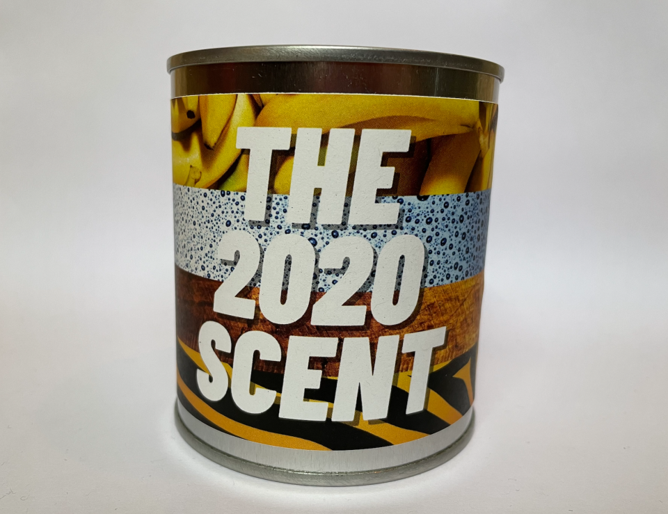 "The 2020 Scent candle combines scents like banana bread, hand sanitizer, and an ""earthy essence"" reminiscent of Joe Exotic from the blockbuster documentary ""Tiger King."" (Photo: Flaming Crap)"
