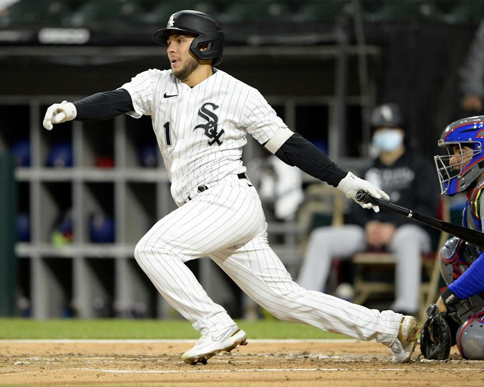CHICAGO - APRIL 23:  Nick Madrigal #1 of the Chicago White Sox bats against the Texas Rangers on April 23, 2021 at Guaranteed Rate Field in Chicago, Illinois.  (Photo by Ron Vesely/Getty Images)