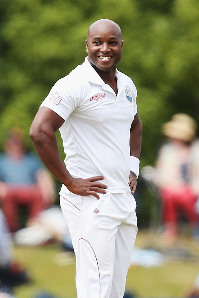 DUNEDIN, NEW ZEALAND - DECEMBER 03:  Tino Best of the West Indies looks on during day one of the first test match between New Zealand and the West Indies at University Oval on December 3, 2013 in Dunedin, New Zealand.  (Photo by Hannah Johnston/Getty Images)