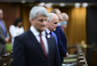 <p>Conservative leader Erin O'Toole and fellow member's of Parliament takes part in a moment of silence in the House of Commons on Parliament Hill in Ottawa on Tuesday, June 8, 2021, in recognition of the recent tragedy in London, Ontario. THE CANADIAN PRESS/Sean Kilpatrick</p>