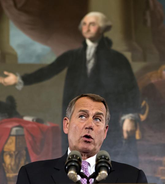 "Speaker of the House John Boehner, R-Ohio, talks about the elections and the unfinished business of Congress, at the Capitol in Washington, Wednesday, Nov. 7, 2012. The first post-election test of wills could start next week when Congress returns from its election recess to deal with unfinished business — including a looming ""fiscal cliff"" of $400 billion in higher taxes and $100 billion in automatic cuts in military and domestic spending to take effect in January if Congress doesn't head them off. Economists warn that the combination could plunge the nation back into a recession. (AP Photo/J. Scott Applewhite)"