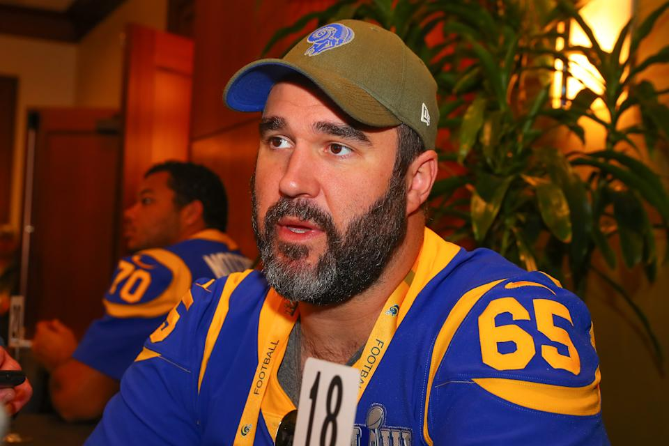 Los Angeles Rams center John Sullivan (65) answers questions before Super Bowl LIII. (Photo by Rich Graessle/Icon Sportswire via Getty Images)