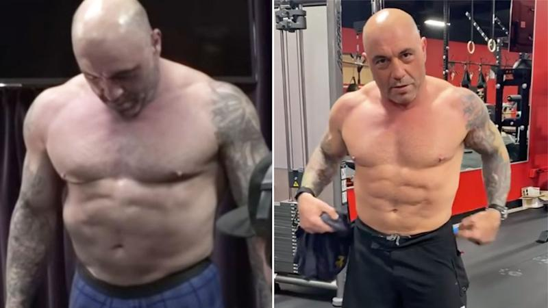 Pictured here, the before and after shots of Joe Rogan's results from the carnivore diet.