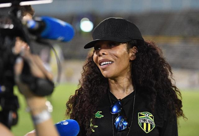 Cedella Marley, daughter of the late reggae legend, has become an ambassador of sorts for Jamaica's national women's football team (AFP Photo/Angela Weiss)