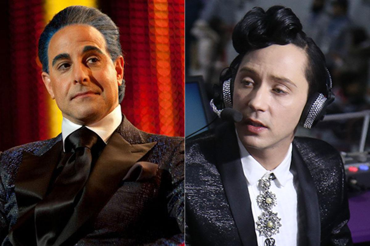 Johnny Weir admits he's trying to look like the 'Hunger Games' announcer