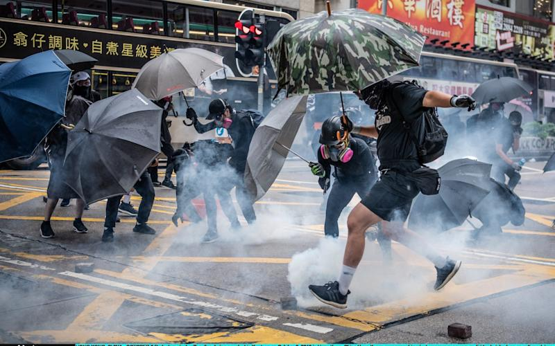 Thousands came out for the unsanctioned rallies, with tensions only rising after four months of mass protests - Getty Images AsiaPac