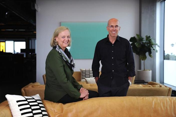 "Quibi CEO Meg Whitman and Chairman Jeffrey Katzenberg inside the company's Hollywood office. <span class=""copyright"">(Christina House / Los Angeles Times)</span>"
