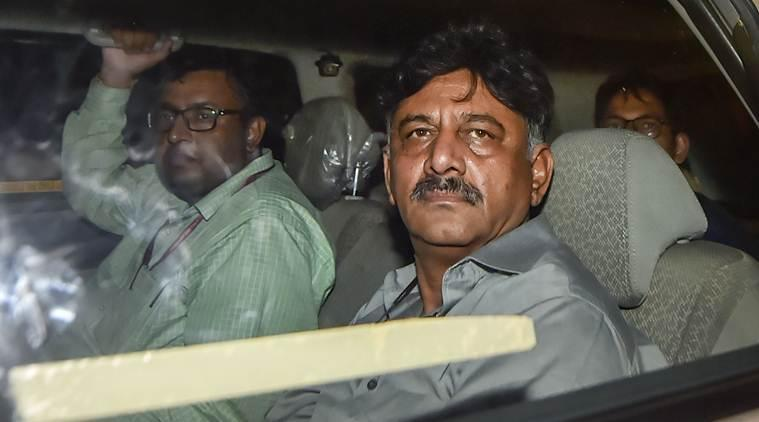 Karnataka Congress leader DK Shivakumar leaves after being produced at Rouse Avenue Court in New Delhi. (PTI Photo/File)