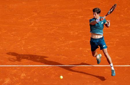 Tennis - ATP - Monte Carlo Masters - Monte-Carlo Country Club, Monte Carlo, Monaco - April 18, 2018 Slovenia's Aljaz Bedene in action during his second round match against Spain's Rafael Nadal REUTERS/Eric Gaillard