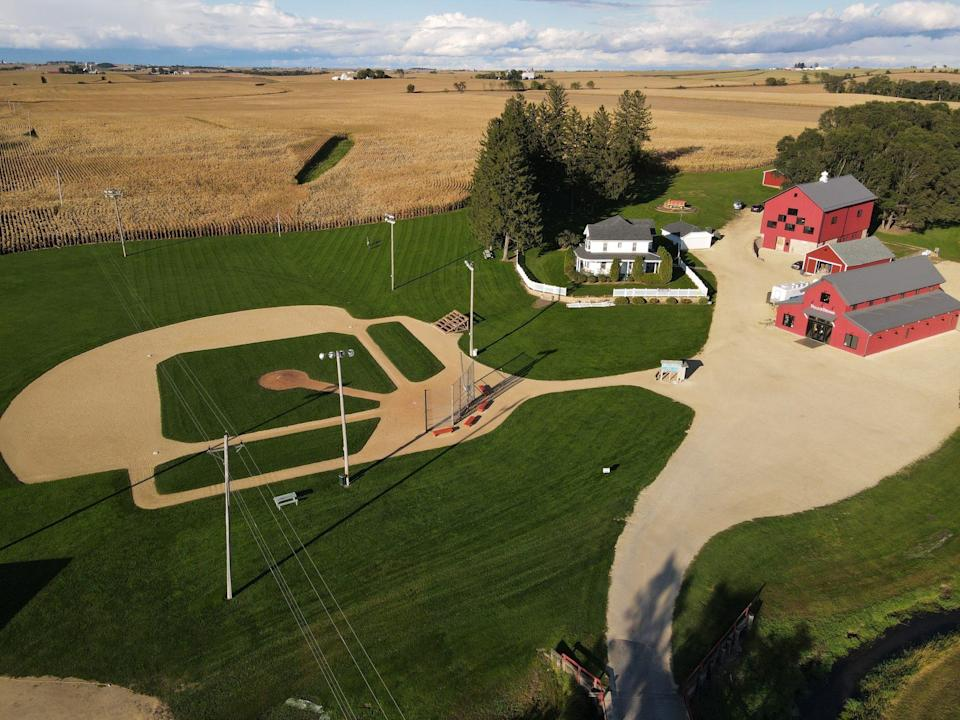 """<p>In Dyersville, Iowa, fans can run the bases at the <a href=""""https://www.fieldofdreamsmoviesite.com/"""" rel=""""nofollow noopener"""" target=""""_blank"""" data-ylk=""""slk:Field of Dreams diamond"""" class=""""link rapid-noclick-resp""""><em>Field of Dreams</em> diamond</a>, next to the same cornfields <a href=""""https://people.com/tag/kevin-costner/"""" rel=""""nofollow noopener"""" target=""""_blank"""" data-ylk=""""slk:Kevin Costner"""" class=""""link rapid-noclick-resp"""">Kevin Costner</a> did in the 1990 Oscar-nominated movie. On Aug. 12, you can also watch the Yankees and White Sox battle in the <a href=""""https://www.mlb.com/news/field-of-dreams-game-tickets-and-faqs"""" rel=""""nofollow noopener"""" target=""""_blank"""" data-ylk=""""slk:first MLB game"""" class=""""link rapid-noclick-resp"""">first MLB game</a> ever played on the famous diamond.</p>"""