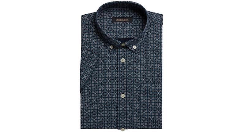 Jaeger Linen Cotton Geo Print Short Sleeve Shirt