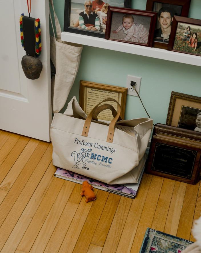 A tote bag that was used by Larry Cummings, who died of COVID-19 in March 2020 at the age of 76, in Petoskey, Mich., on Feb. 15, 2021. (Lyndon French/The New York Times)