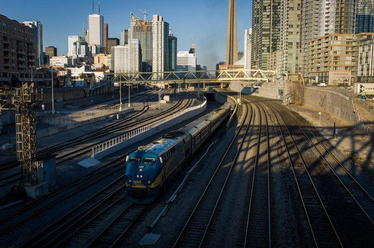 A VIA Rail train leaves Union Station on April 22, 2013 in Toronto, Ontario, Canada. Two foreign nationals have been arrested in Canada in connection with what federal police said was a plot backed by Al-Qaeda to derail a passenger train in the Toronto area