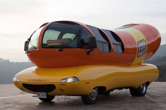 """The """"Wienermobile"""" classic promotional vehicle in the shape of an Oscar Mayer brand wiener."""