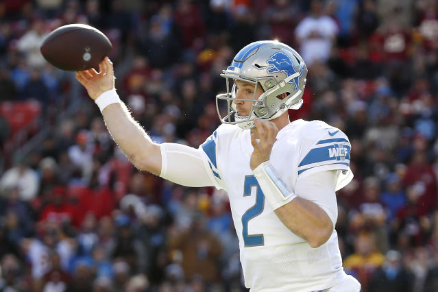 Detroit Lions quarterback Jeff Driskel throws a pass against the Washington Redskins during the first half of an NFL football game, Sunday, Nov. 24, 2019, in Landover, Md. (AP Photo/Alex Brandon)