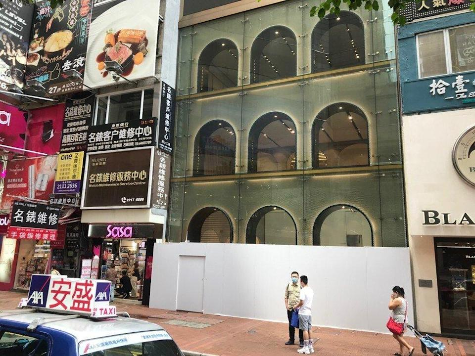 The four-storey retail space on Russell Street in Causeway Bay that was surrendered by La Perla last year, as of September 7, 2020. Photo: Handout
