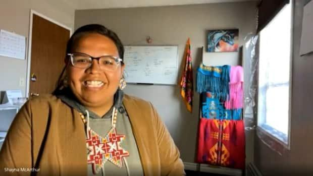 Shayna McArthur is one of the creators of 'Pride and Buffalo Hide,' a new two-spirit group.  (Google Meet - image credit)