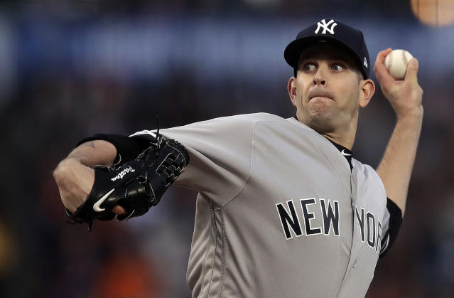 New York Yankees pitcher James Paxton works against the San Francisco Giants in the first inning of a baseball game Friday, April 26, 2019, in San Francisco. (AP Photo/Ben Margot)