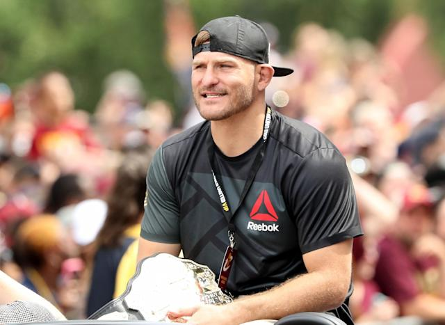 Stipe Miocic works as a firefighter when he's not training for his next MMA fight. (Getty)