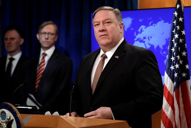 Secretary of State Mike Pompeo speaks during a briefing on Iran in Washington