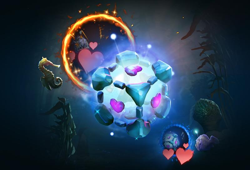 Io the Wisp is taking some cosplay tips from Portal's Companion Cube (Valve)