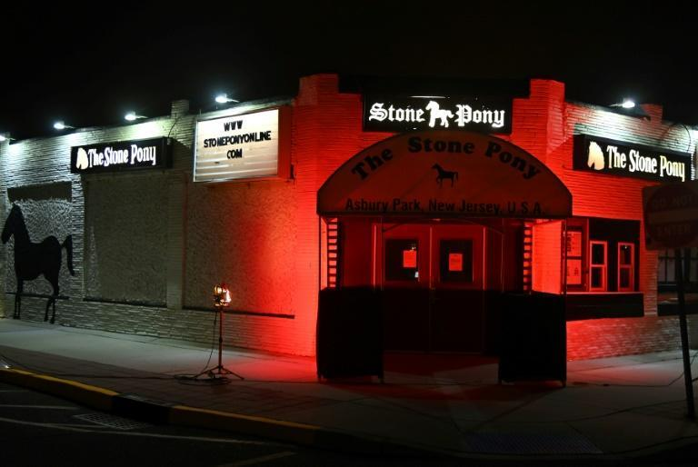 The Stone Pony in Asbury Park, New Jersey was lit red in September 2020, as venues nationwide urged Congress to provide financial help to entertainment and live event industry workers decimated by the pandemic