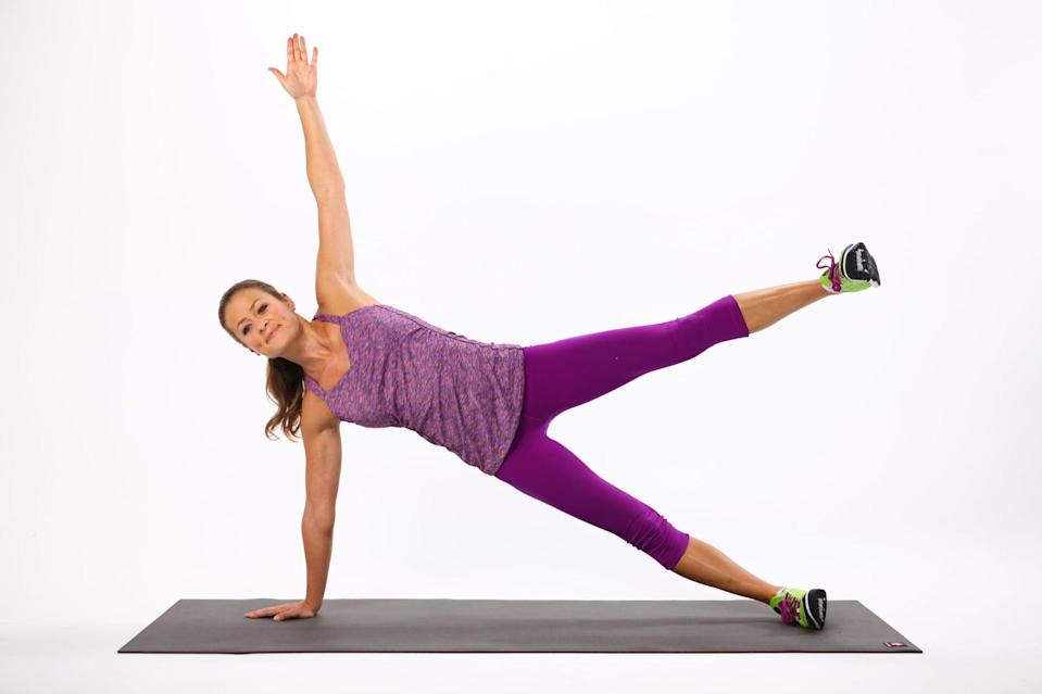 <ul> <li>Come into a side plank on the right side. Flex both feet and lift your left arm straight in the air. </li> <li>Keeping your spine lengthened and your abs engaged, lift your left leg up as high as you can without letting your waist sink to the ground. </li> <li>Then slowly lower your right leg back to the starting position to complete the rep.</li> </ul>
